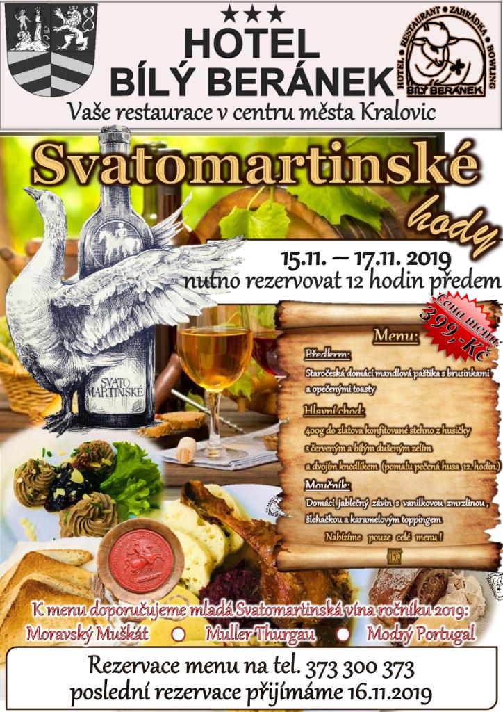 Svatomartinské menu plakát 2019